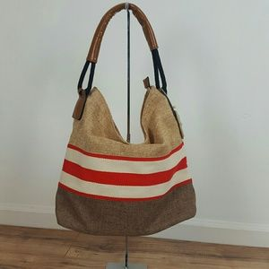"Handbags - NWT HANDBAG REPUBLIC . STRIPE BEACH BAG  14"" X 15."